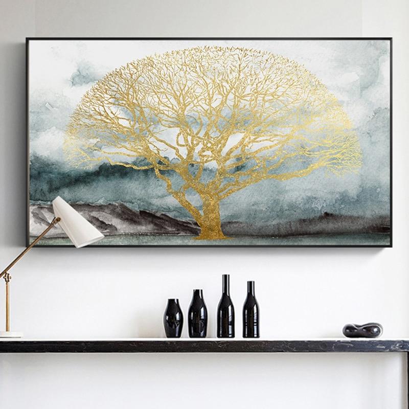 Pintura Mural abstracta de arte para sala de estar, póster de lienzo de árbol dorado de Color agua e impresión para pared del dormitorio, arte de La Imagen 3-26