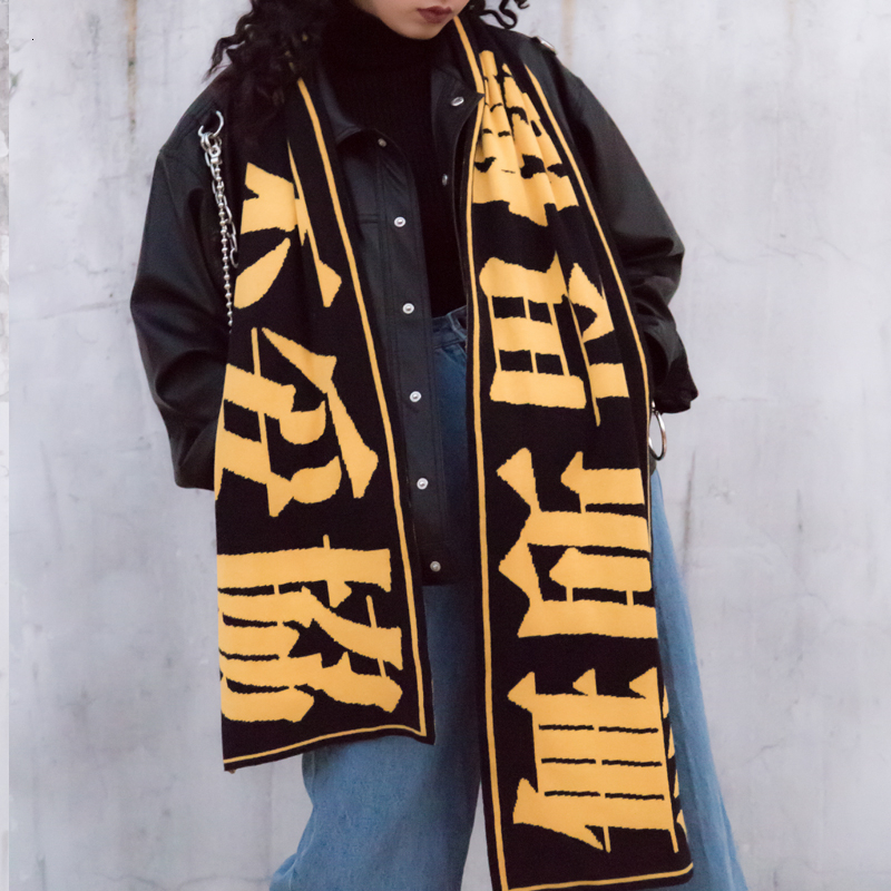 Harajuku Chinese Knitting Scarf Women's Long Soft Wide Warm Scarf-in Women's Scarves from Apparel Accessories on AliExpress