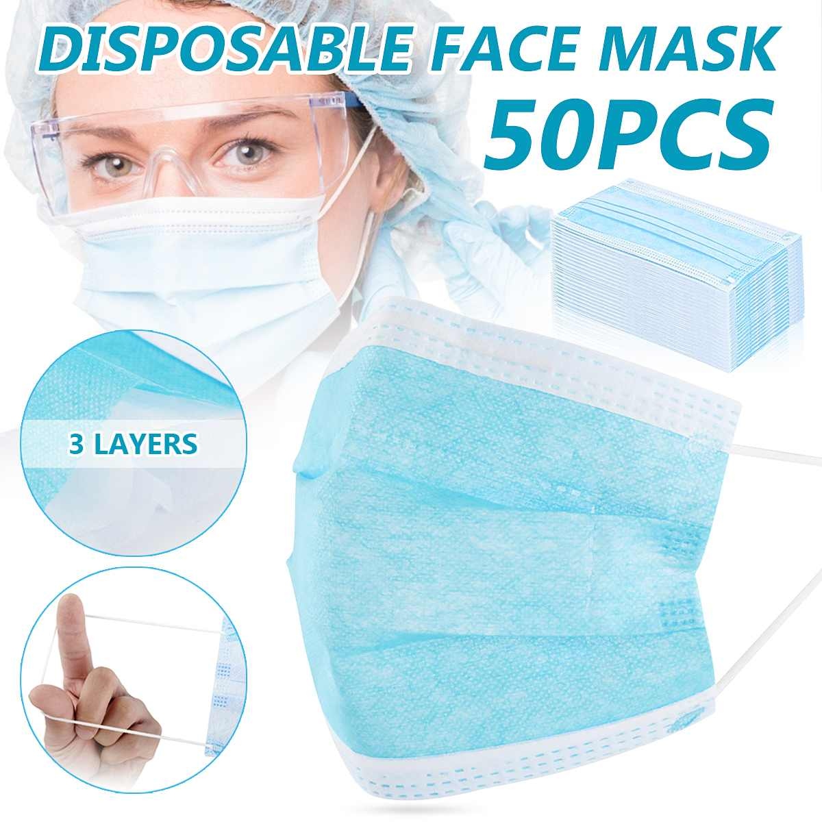 Fast Shipping 50/100PCS Non Woven 3-Ply Ear Loop Disposable Face Mouth Mask Anti Dust Protective Dust Filter Against Droplet