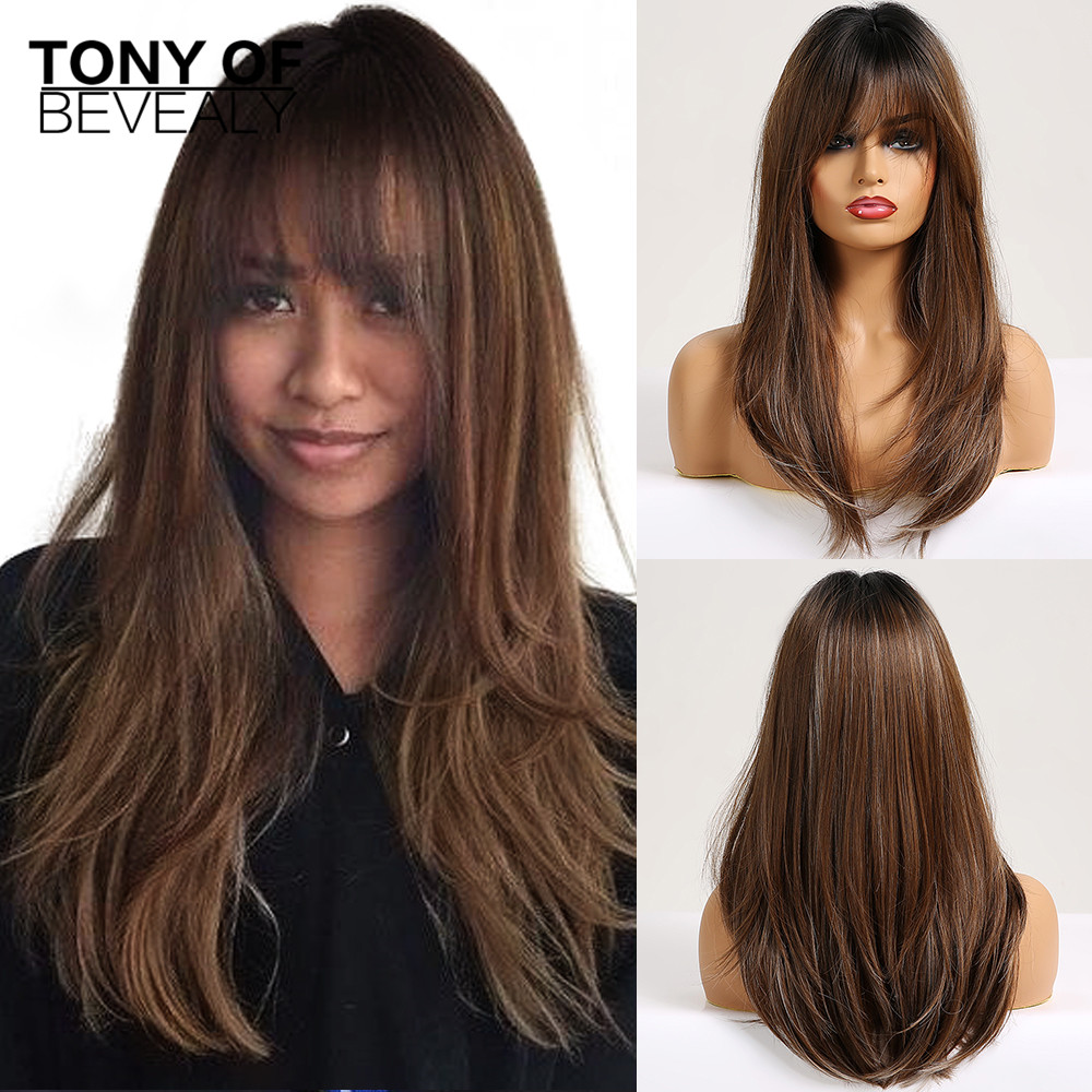 Long Straight Synthetic Wigs With Bangs Ombre Brown Natural Daily Party Hair Wigs For Black Women Heat Resistant Fiber Wigs