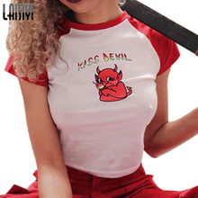 LAISIYI New T Shirts Cute Cartoon Prited Tee Shirt Funny Devil Child Printed