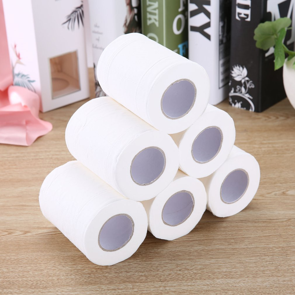 Home Bath Toilet Paper Wood Pulp Tissue Roll Paper Household Toilet Paper Restaurant Hotel Roll Paper 6 Rolls