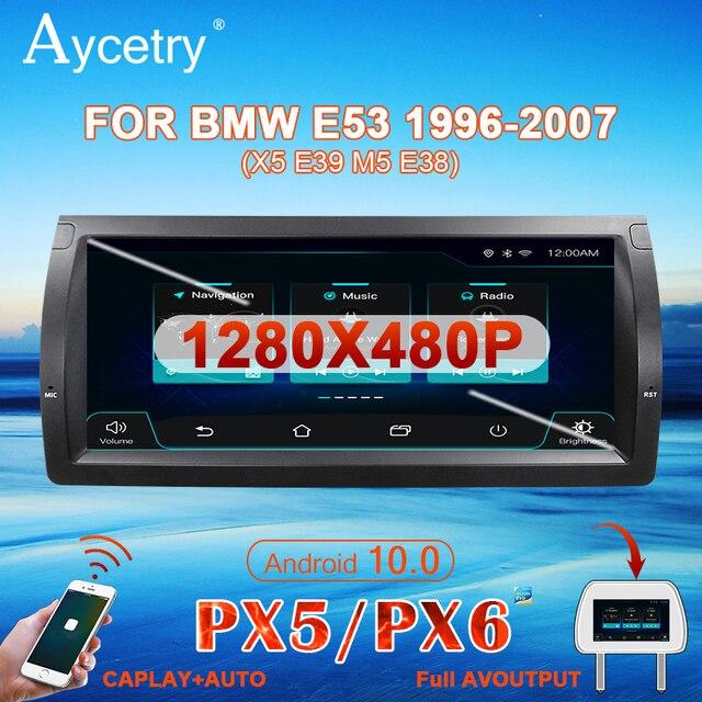 PX6 10.25 Ips Autoradio 1 Din Android 10 Multimedia Speler Autoradio Voor Bmw/E39/X5/e53 Stereo Navigatie Gps 4G Geen 2 Din Dvd