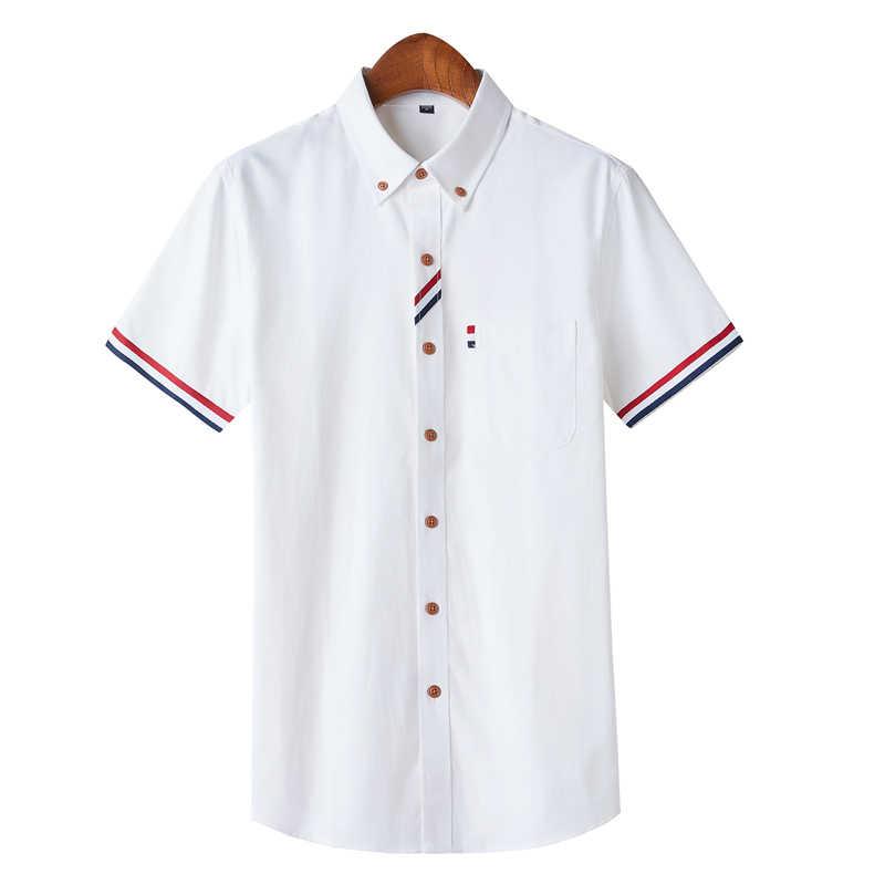 Sommer Plus größe ohne brust tasche kurzarm twill solide slim fit männer kleid shirts pflegeleicht schwarze taste