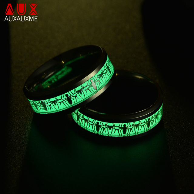 Bague lumineuse araignée fluorescente Auxauxme pour femmes hommes titane acier inoxydable Fans Spiderman bijoux de bande de mariage