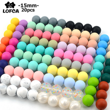 Loose-Beads Chewable Lofca 15mm Round Colorful Silicone Baby Infant Safe DIY for 20pcs/Lot