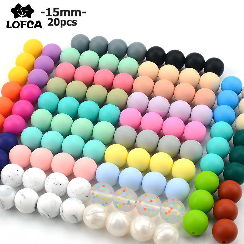 LOFCA 15mm 20pcs/lot Silicone Loose Beads Safe Teether Round Baby Teething Beads DIY Chewable Colorful Teething For Infant(China)