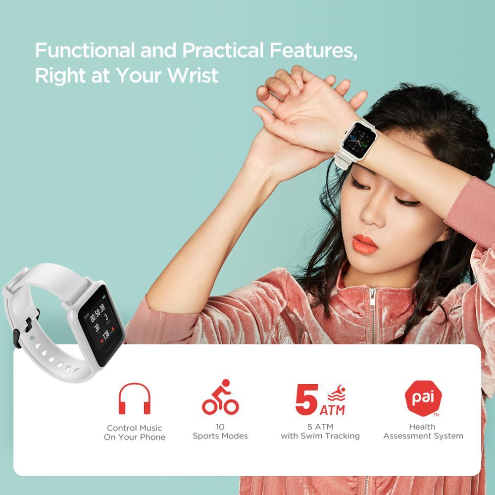 В наличии 2020 Global Amazfit Bip S Smartwatch 5ATM водонепроницаемые встроенные GPS GLONASS Bluetooth Смарт-часы для Android iOS Phone-4