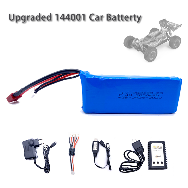 Wltoys 144001 Car 2s <font><b>7.4V</b></font> <font><b>3000mAh</b></font> Upgraded <font><b>Lipo</b></font> <font><b>Battery</b></font> T Plug For Wltoys 1/14 144001 RC Car Boat <font><b>Lipo</b></font> <font><b>Battery</b></font> Parts Upgraded image