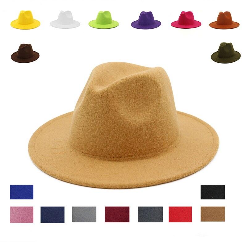 Sombrero fedora de ala ancha para hombre, sombrero de otoño, elegante lana de imitación, Camel de invierno, boda, sombreros de fieltro rojo, sombreros de mujer de cuero para iglesia, sombreros Vintage