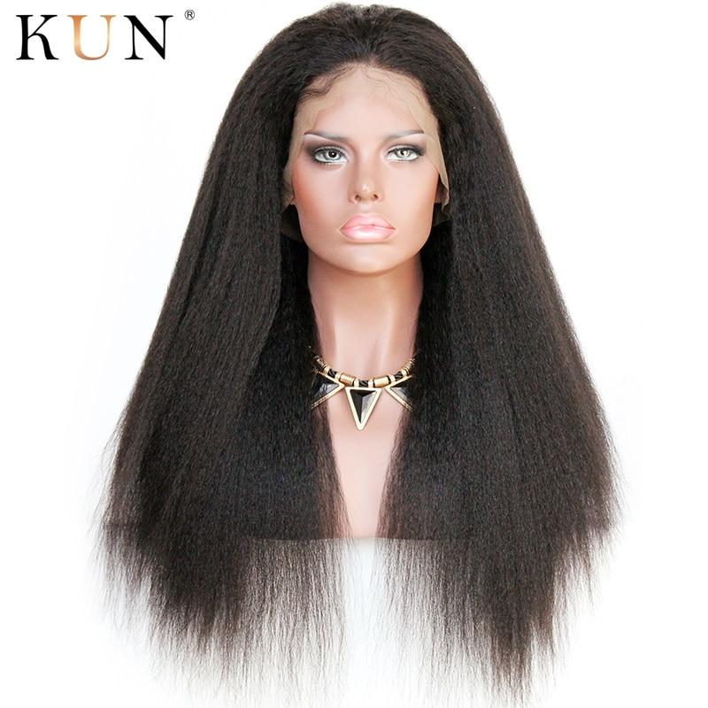 Italian Yaki Human Hair Wig 13x4 13x6 Lace Front Human Hair Wigs Kinky Straight Wig Brazilian Remy 150 250 Density Lace Wig
