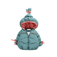 Children's warm clothes winter baby girls bow cute hat cotton-padded ja