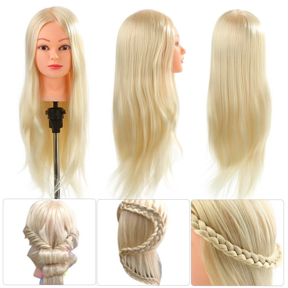 "Salon Head 26"" 30% Real Human Hair Hairdressing Training Practice Head with Clamp Light Yellow Hair Dummy Head Model"
