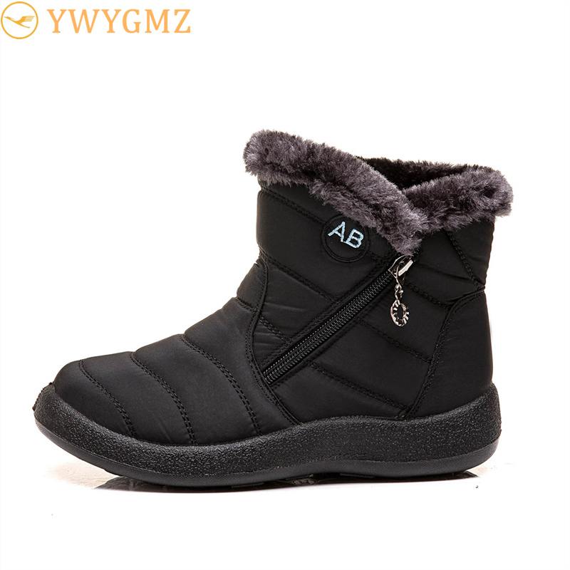 Women Boots Winter Snow Boots Mother Women's Winter Boots Waterproof Cloth Plush Keep Warm Cotton Shoes Woman Botas Mujer