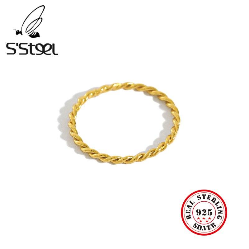 S'STEEL-anillos De Plata De Ley 925 para Mujer, Sortijas De anillo De oro minimalista redondo De moda, Plata De Ley 925, Regalos De joyería para Mujer