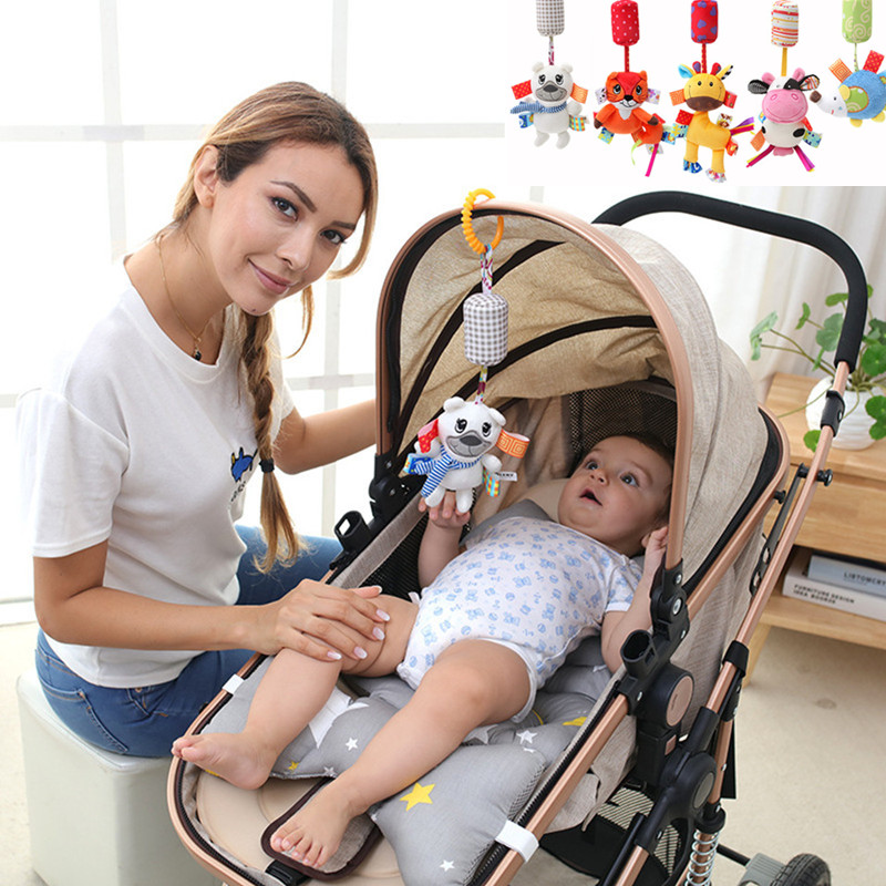 Newborn Baby Plush Stroller Toys Baby Rattles Mobiles Cartoon Animal Hanging Bed Bell Educational Toys 0-12 Months