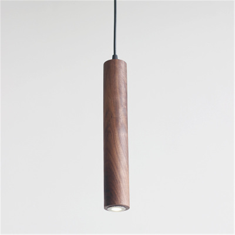 Modern Minimalist Solid Wood Chandelier Diner Room Restaurant Hotel Three Head LED Black Walnut Eucalyptus Nordic Strip Lamp|Pendant Lights| |  - title=