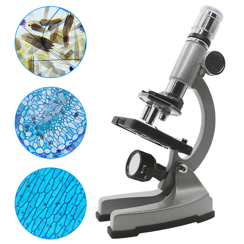 Body Toy Gift Microscope 1200X Zoom Biological Monocular Present Illuminated Present Metal Microscope Educational Microscope