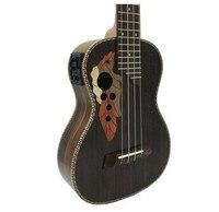 23 Inch Electronic Soundtrack Bass Ukulele Grape Sound Hole 4 String Hawaiian Guitar Rosewood Ukulele Electric Guitar