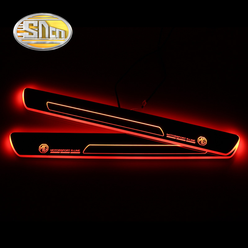 For MG ZS GT MG6 2015 2016 2017 2018 2019 Acrylic Moving LED Welcome Pedal Scuff Plate Pedal Door Sill Pathway Light in Decorative Lamp from Automobiles Motorcycles