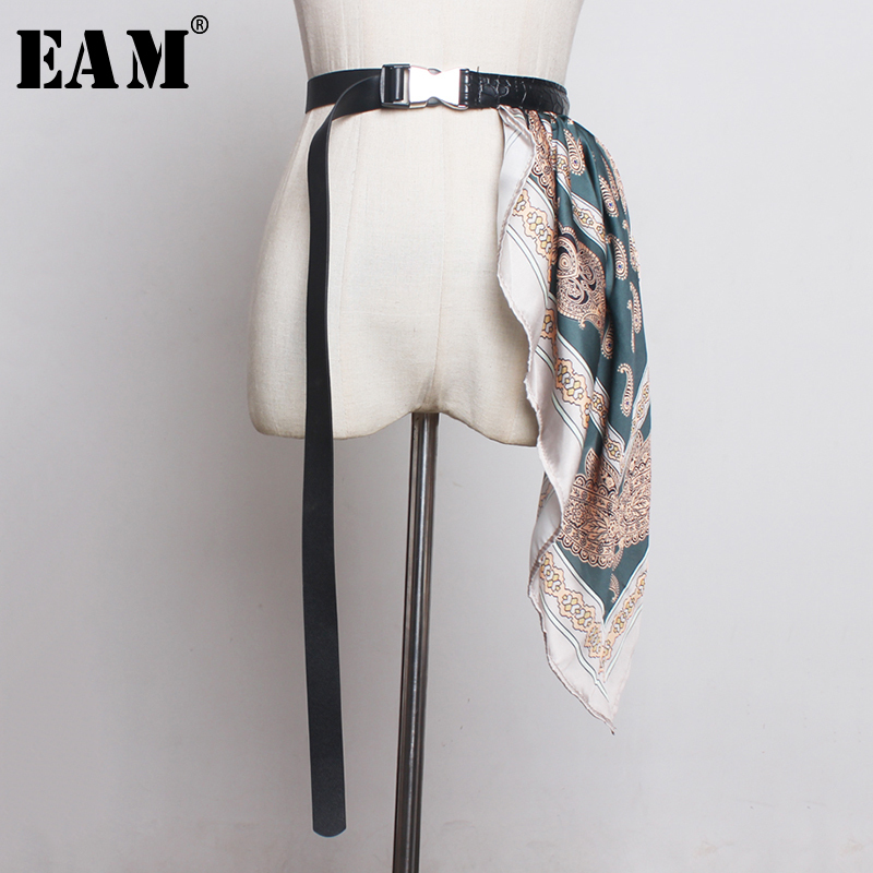 [EAM]  Pu Leather Adjust Silk Scarf Long Belt Accessories Personality Women New Fashion Tide All-match Spring Autumn 2021 1B011