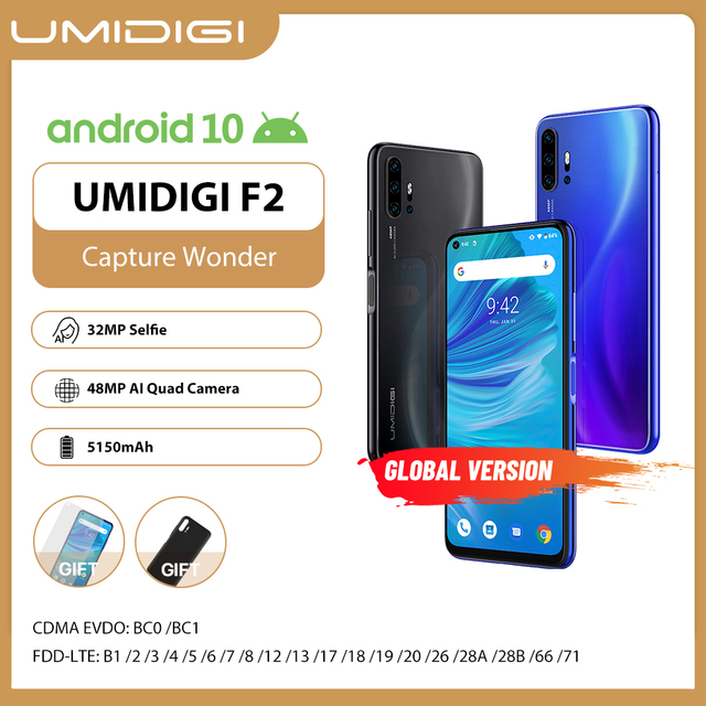 "Umidigi F2 Telefoon Android 10 Global Versie 6.53 ""Fhd + 6Gb 128Gb 48MP Ai Quad Camera 32MP selfie Helio P70 Mobiel 5150Mah Nfc"