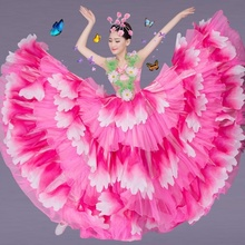 Women Petal Dance Big Swing Dress Waltz Cha-cha Spanish Paso Doble Pleated Skirt Ballroom Cosplay Costume 803-475