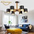 Скандинавский 220В светодиодный светильник с железным абажуром для гостиной  современные деревянные люстры  деревянная люстра для прихожей ...
