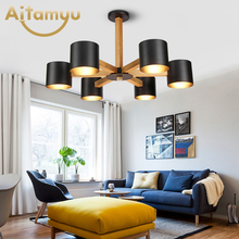 Nordic 220V LED Chandelier With Iron Lampshade For Living Room Modern Wooden Lustres Wood Foyer Lighting