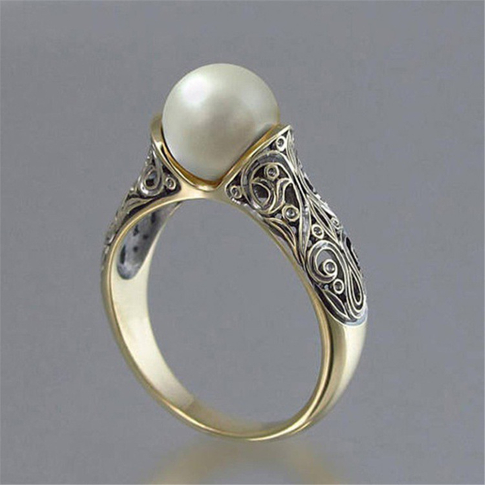 Hot Selling Pearl Ring Female Inlaid Pearl Gold color Vintage Silver Ring Simple Retro Court Style Jewelry Accessories