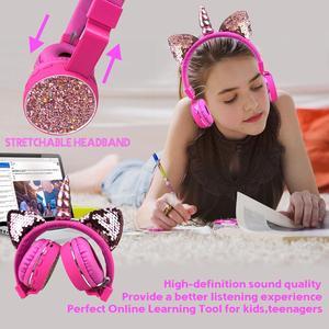 Image 5 - 어린이 헤드폰 유니콘 헤드폰 무선 블루투스 헤드셋 스테레오 음악 성인 소년 소녀 선물을위한 stretchable 만화 이어폰