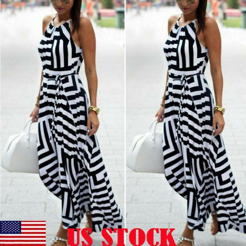 Women Long Dress Boho Summer Arrival Casual Dress Sleeveless Striped Bow High Waist Straight Ankle Length Dress Sundress