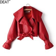 DEAT 2021 Spring Autumn New Products Fashion Big Lapel Versatile Locomotive Pu Leather Jacket Female PB051