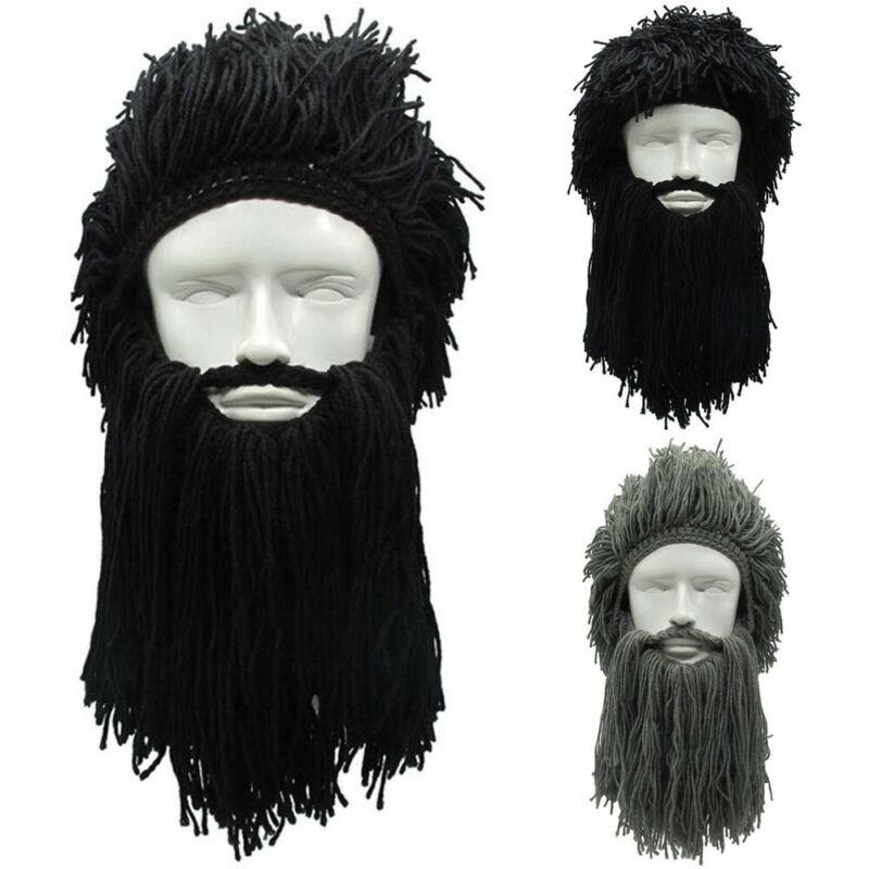 Фирменная новинка, мужские вязаные шапки с бородой викингов, Зимняя Теплая Лыжная маска с усами, шапочка, парики, косплей, сделай сам, креати...