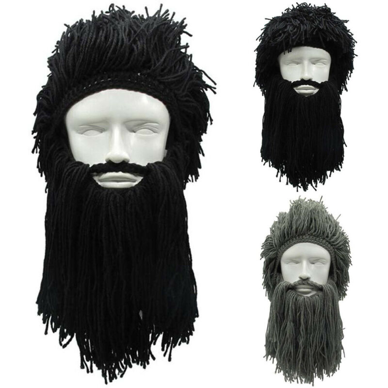 Brand New Men Knit Viking Beard Hats Winter Warm Ski Mask Mustache Beanie Cap Wigs Cosplay DIY Creative Beanies