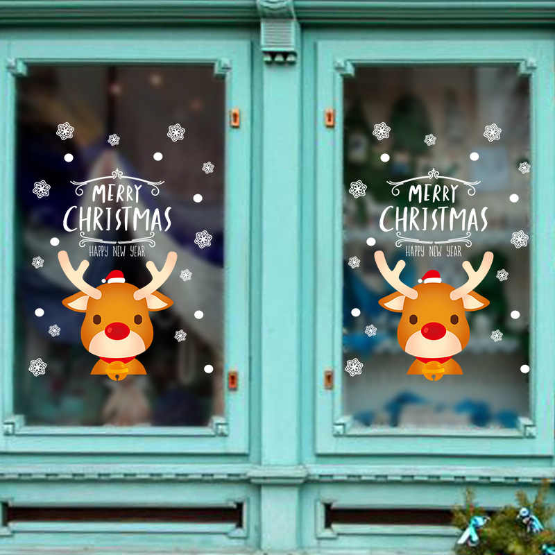 2020 Cute Elk Christmas Wall Stickers Window Glass Festival Decals Santa Murals New Year Christmas Decorations for Home New