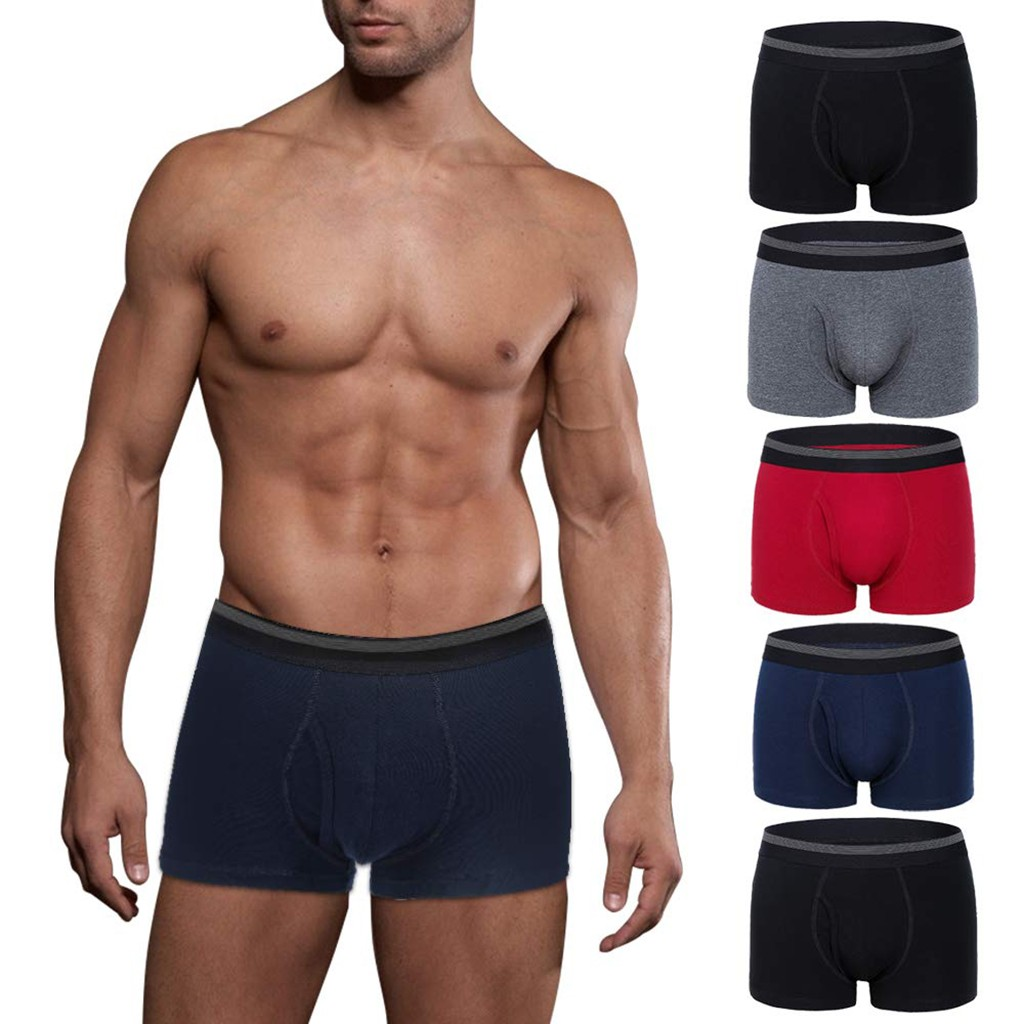 men's underwear cotton comfortable boxer jockstrap Mens 5 pc Pack No Ride-Up Comfortable Breathable Cotton Underwear 5PC