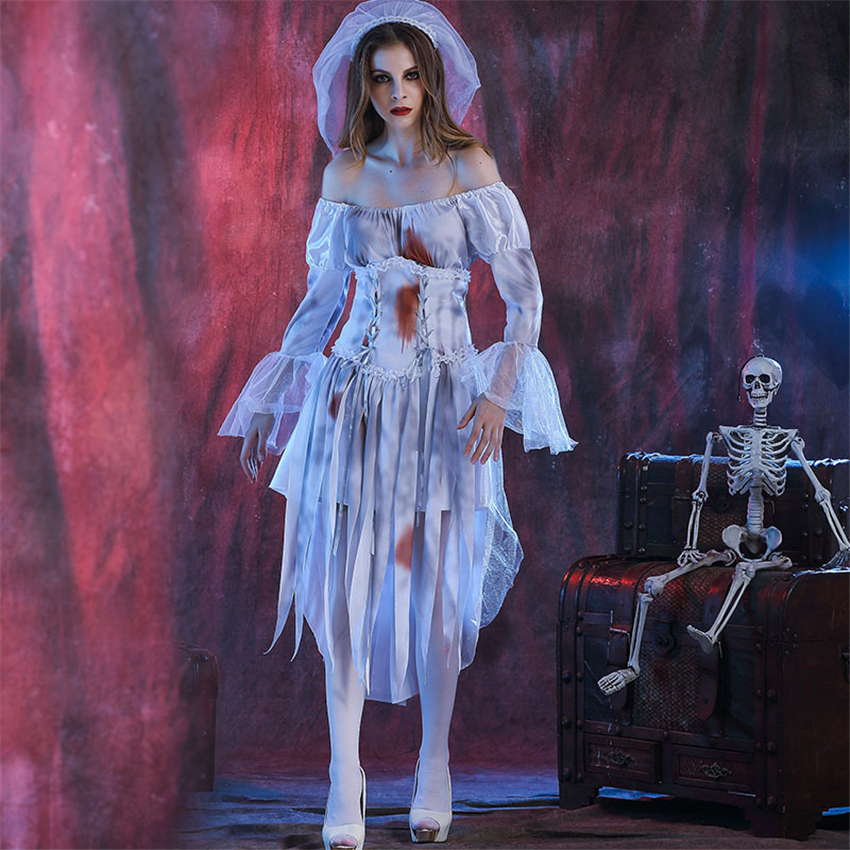 Woman Scary Bride Cosplay Costumes <font><b>Halloween</b></font> <font><b>Sexy</b></font> Off Shoulder Bloody Lace <font><b>Dress</b></font> Tattered Ghost Masquerade Party Wear image