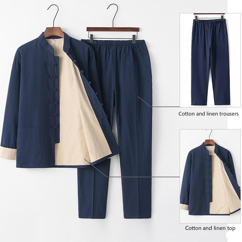 Льняной костюм в китайском ретро стиле, рубашки и брюки из хлопка и льна, костюм из двух предметов в стиле тай чи Тан, мужская форма для кунгфу, комплект ханьфу, пальто и штаны|Наборы| | АлиЭкспресс