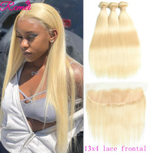 Honey 613 Blonde Straight Bundles with Frontal Closure Brazilian Blonde 3 Bundles With 13x4 Frontal Pre Plucked Remy Hair