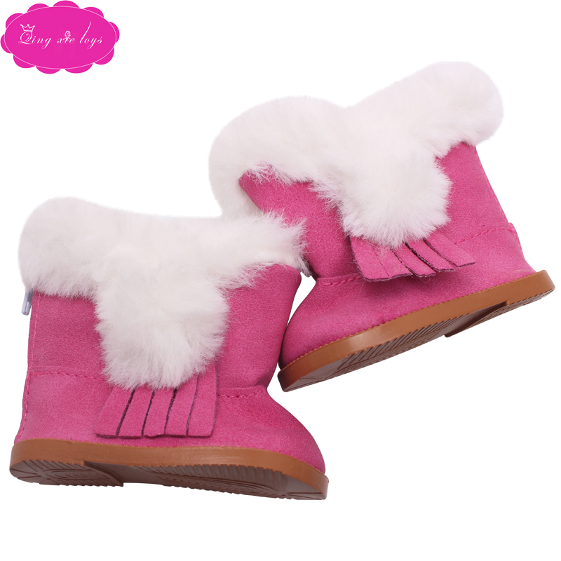 Casecover Poup/ée Chaussures en Peluche Hiver Chaud Chaussures Bottes De Neige pour 18 Pouces Fille Poup/ées Mini Chaussures