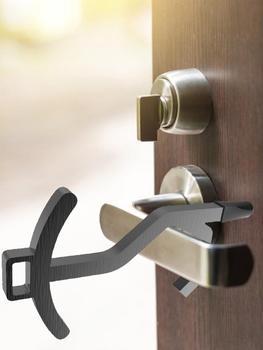 Portable Non-contact Door Opening Stick Portable Plastic Press Keychain Handheld Door Handle Opener Elevator Tool