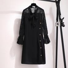2XL-6XL Women Large size Black Lace Dress Autumn Casual Plus Size Loose Office Button Big 5XL Lady Work Dresses