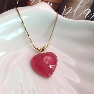 Image 3 - حقيقي الطبيعية الأحمر رودوتشروسايت قلادة WHeart الحب 19x17x6 مللي متر النساء 18K الصلبة الذهب الحب الريكي قلادة الموضة النادرة حبة AAAAA