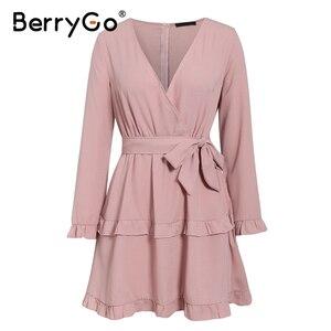 Image 4 - BerryGo à manches longues à volants rose femmes robe haute wasit robe dété élégant col en v streetwear chic dames robe de soirée courte 2020