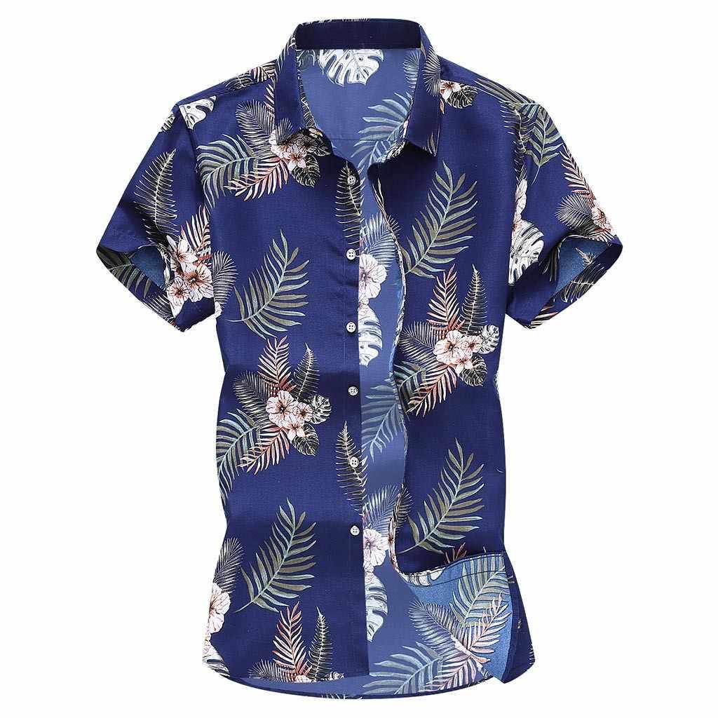 Moda Slim Loose Hawaii z krótkim rękawem drukowane skręcić w dół drukowanie hawajskie męskie ubrania w stylu Vintage mężczyźni ubranie koszule topy camisa