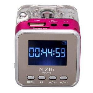 Image 4 - 新ポータブルミニスピーカーデジタル音楽MP3/4プレーヤーマイクロsd/tf usbディスクスピーカーfmラジオlcdディスプレイ 20