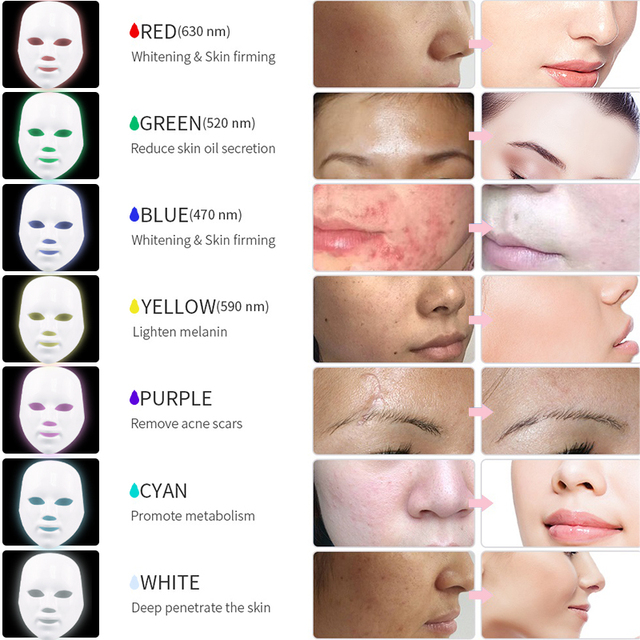 Led Mask 7Colors Led Facial Mask Photon Therapy Face Mask Light Therapy Skin Rejuvenation Therapy Wrinkle Acne Tighten Skin Tool 2