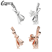 CUTEECO 2019 New Shiny Zircon Luxury Bow Stud Earrings Elegant Vintage Brand Earrings For Women Wedding Jewelry Brinco cuteeco 2019 new tree of life zircon stud earrings elegant brand earrings for women fashion jewelry accessories gift