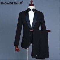 SHOWERSMILE мужские костюмы пиджак 3 шт. набор черный свадебный костюм жениха Официальный Мужской костюм с брюками приталенный Блейзер Костюмы